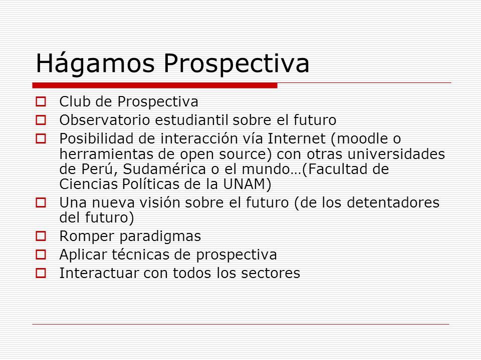 Hágamos Prospectiva Club de Prospectiva Observatorio estudiantil sobre el futuro Posibilidad de interacción vía Internet (moodle o herramientas de ope