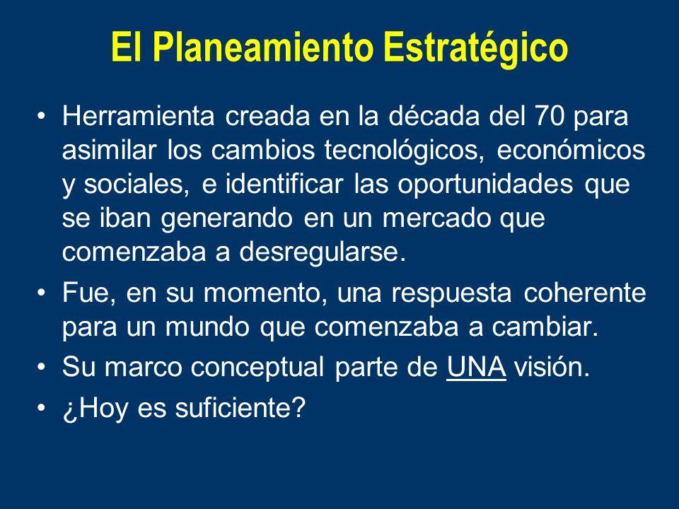 El Planeamiento Estratégico Herramienta creada en la década del 70 para asimilar los cambios tecnológicos, económicos y sociales, e identificar las op