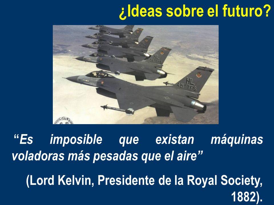 ¿Ideas sobre el futuro? Es imposible que existan máquinas voladoras más pesadas que el aire (Lord Kelvin, Presidente de la Royal Society, 1882).