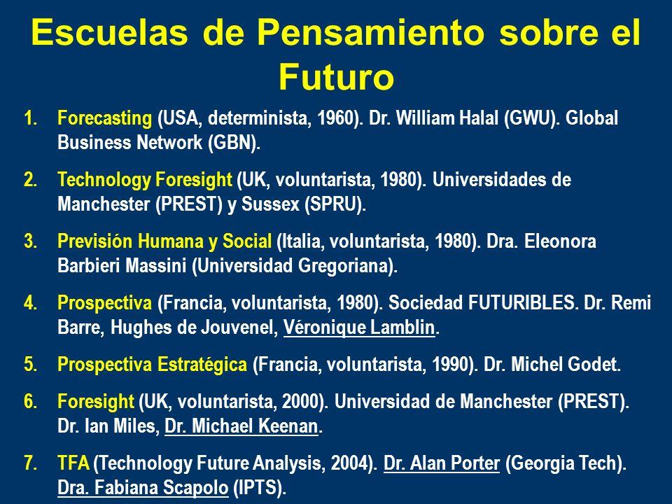 Escuelas de Pensamiento sobre el Futuro 1.Forecasting (USA, determinista, 1960). Dr. William Halal (GWU). Global Business Network (GBN). 2.Technology