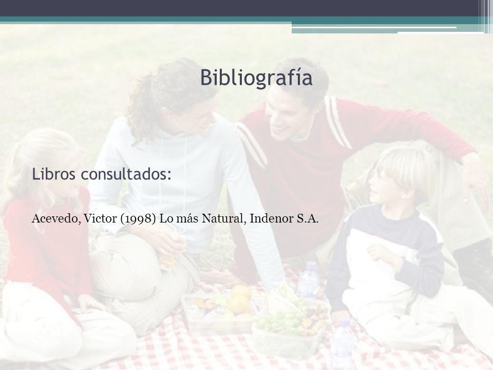 Libros consultados: Acevedo, Victor (1998) Lo más Natural, Indenor S.A. Bibliografía