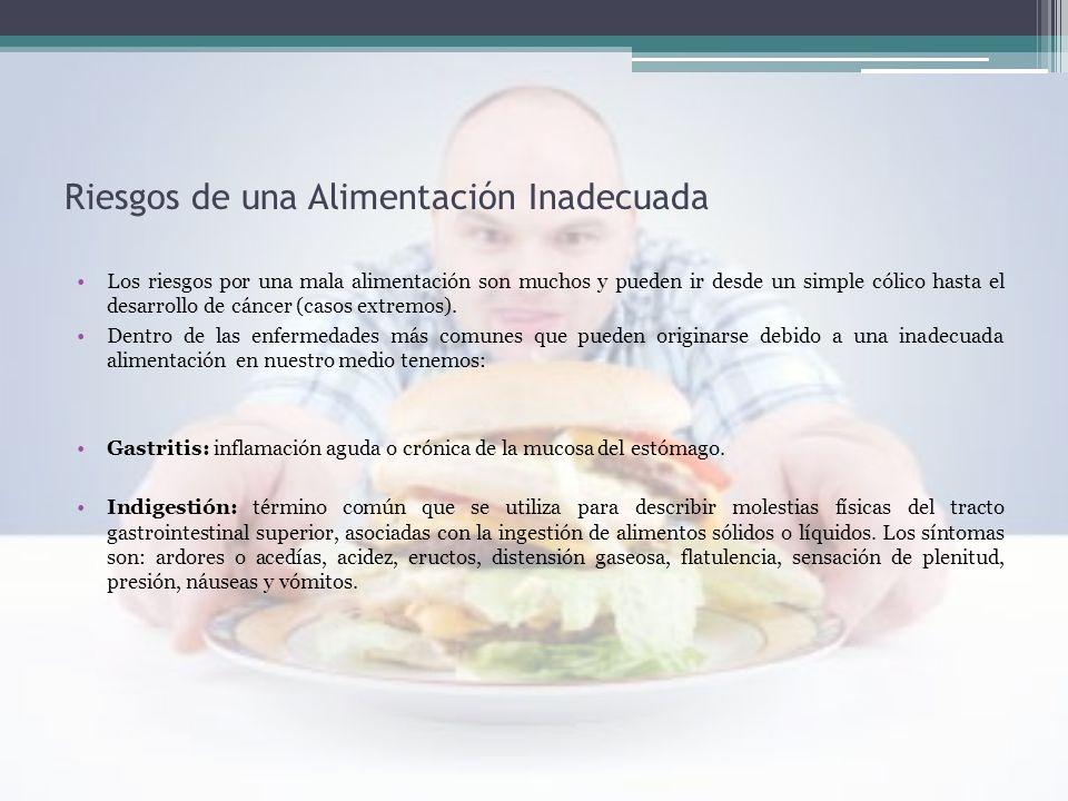 Riesgos de una Alimentación Inadecuada Los riesgos por una mala alimentación son muchos y pueden ir desde un simple cólico hasta el desarrollo de cánc