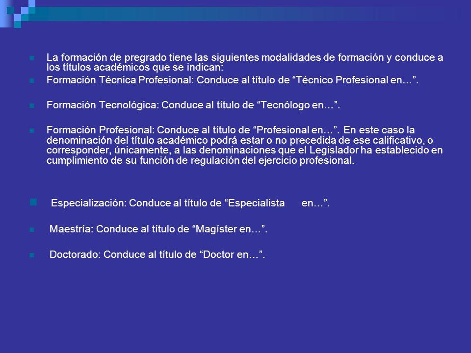 La formación de pregrado tiene las siguientes modalidades de formación y conduce a los títulos académicos que se indican: Formación Técnica Profesiona