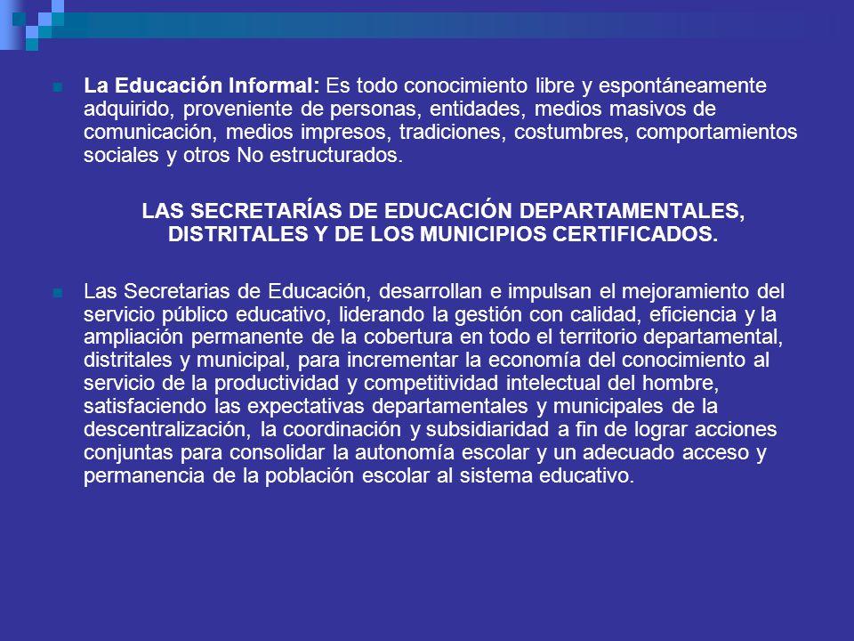 La Educación Informal: Es todo conocimiento libre y espontáneamente adquirido, proveniente de personas, entidades, medios masivos de comunicación, med