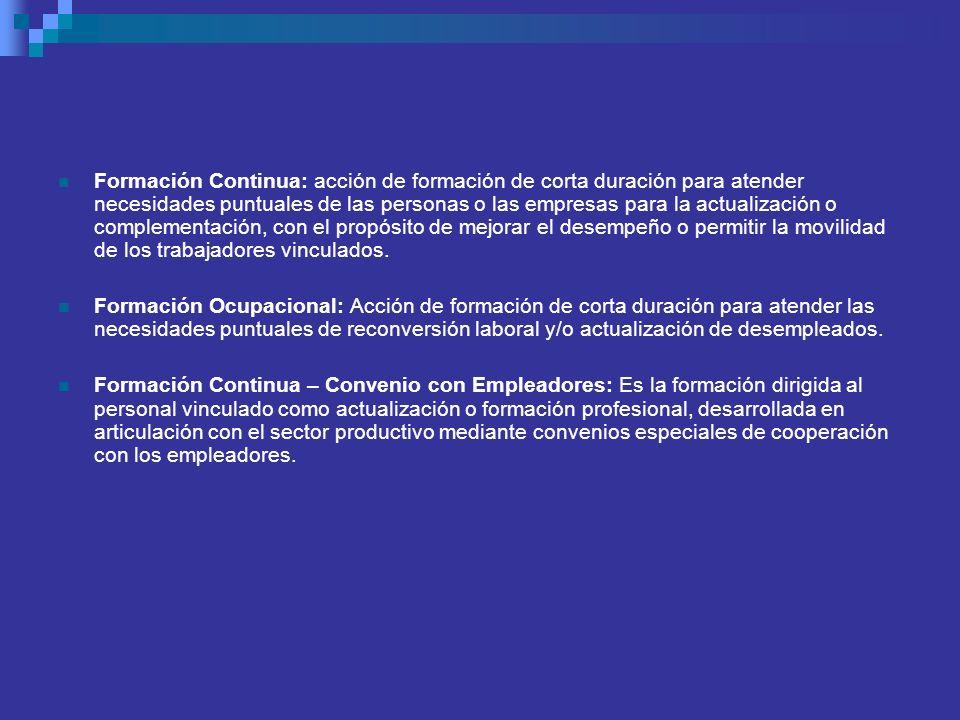 Formación Continua: acción de formación de corta duración para atender necesidades puntuales de las personas o las empresas para la actualización o co