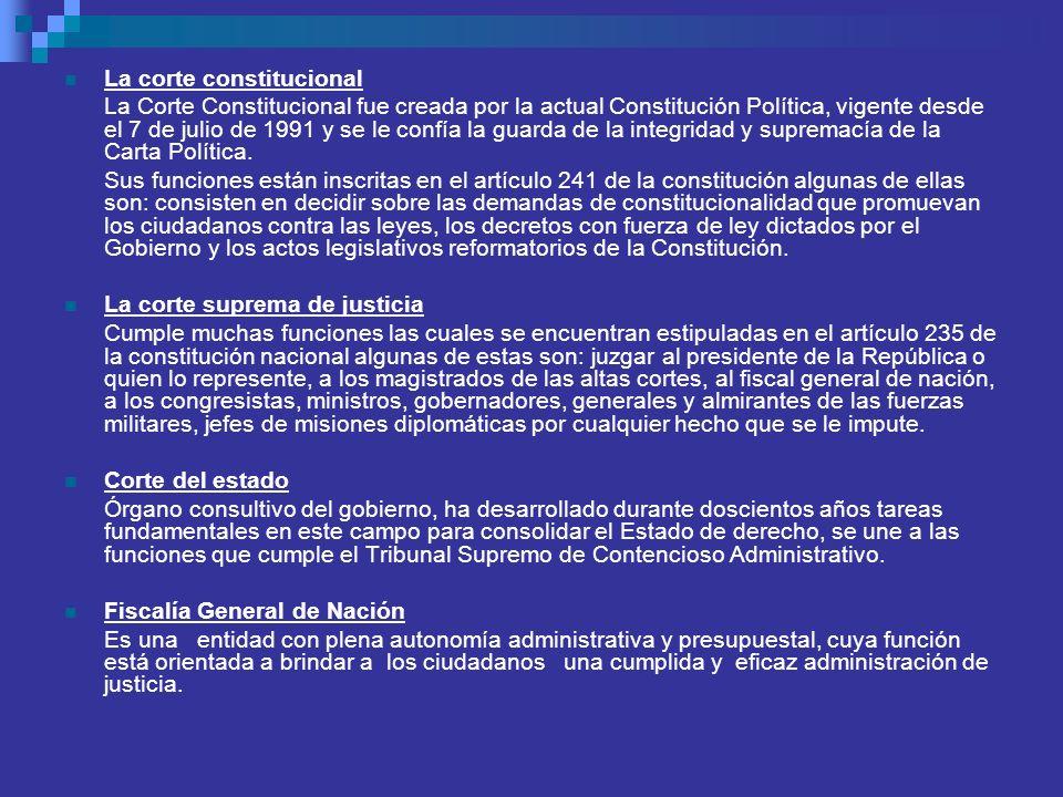 La corte constitucional La Corte Constitucional fue creada por la actual Constitución Política, vigente desde el 7 de julio de 1991 y se le confía la