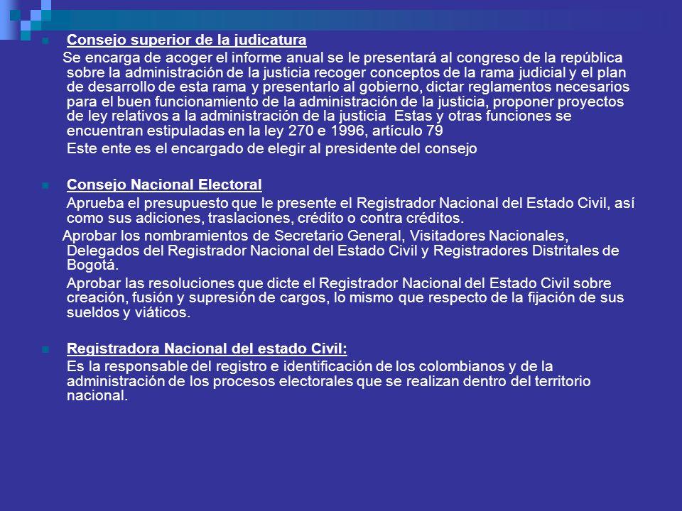 Consejo superior de la judicatura Se encarga de acoger el informe anual se le presentará al congreso de la república sobre la administración de la jus