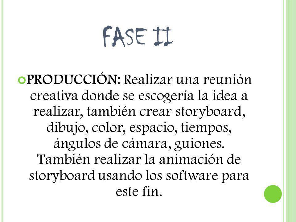 FASE II PRODUCCIÓN: Realizar una reunión creativa donde se escogería la idea a realizar, también crear storyboard, dibujo, color, espacio, tiempos, án