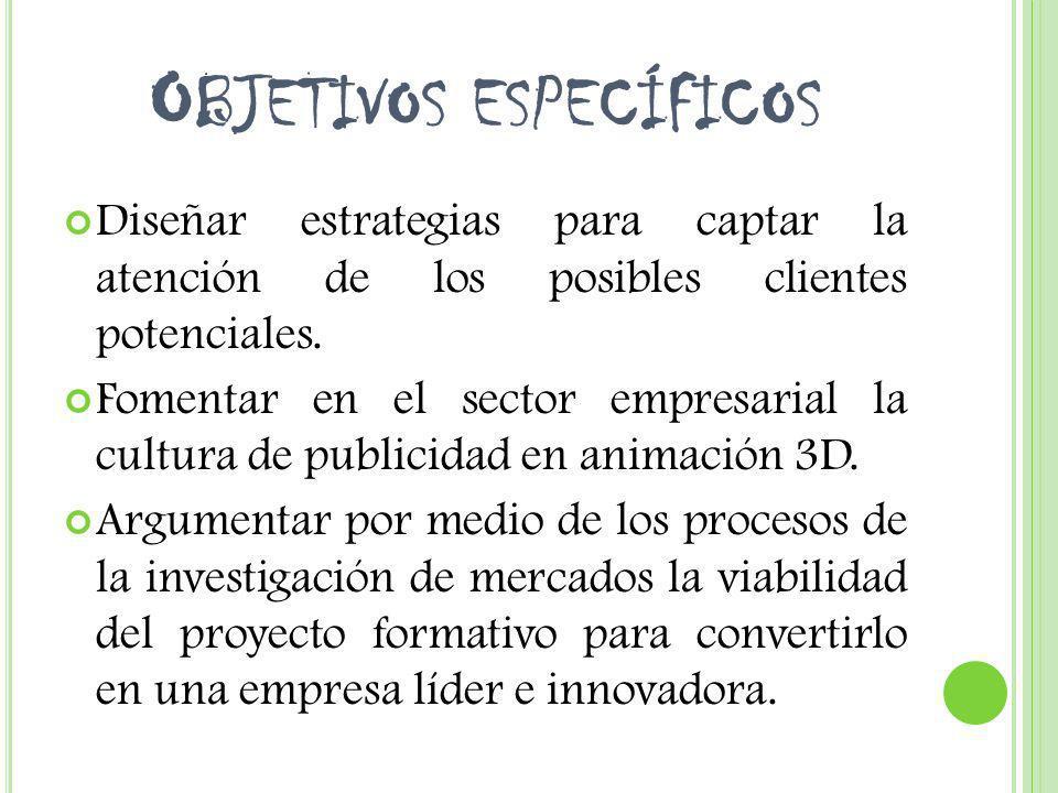 O BJETIVOS ESPECÍFICOS Diseñar estrategias para captar la atención de los posibles clientes potenciales. Fomentar en el sector empresarial la cultura