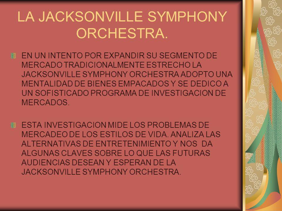 LA JACKSONVILLE SYMPHONY ORCHESTRA. EN UN INTENTO POR EXPANDIR SU SEGMENTO DE MERCADO TRADICIONALMENTE ESTRECHO LA JACKSONVILLE SYMPHONY ORCHESTRA ADO