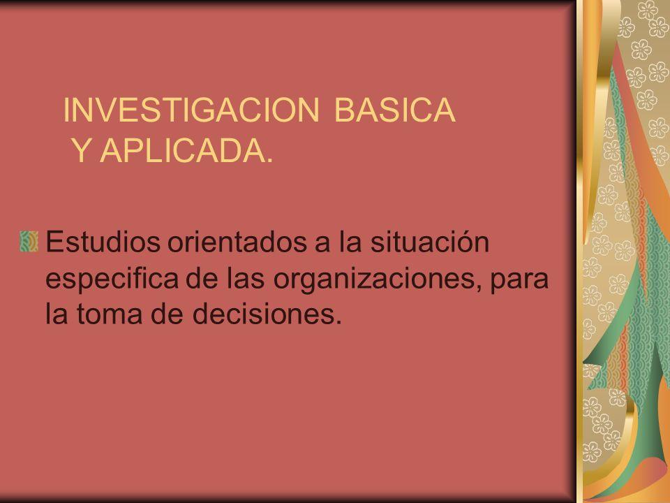 INVESTIGACION BASICA Y APLICADA. Estudios orientados a la situación especifica de las organizaciones, para la toma de decisiones.