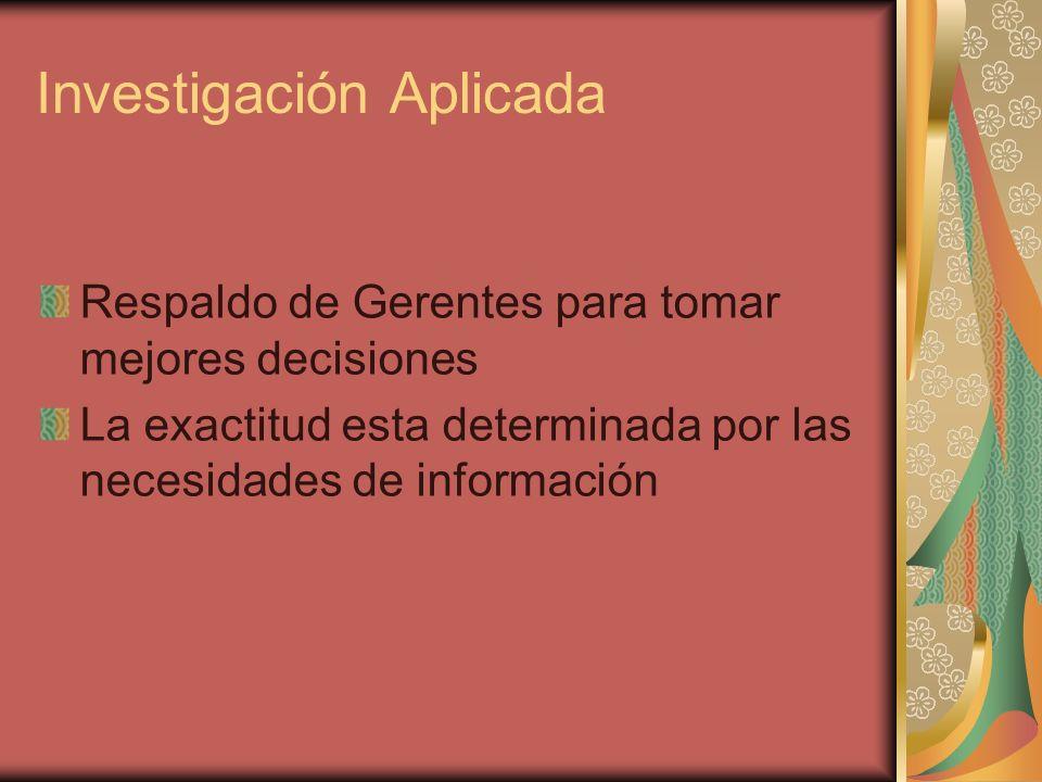 Investigación Aplicada Respaldo de Gerentes para tomar mejores decisiones La exactitud esta determinada por las necesidades de información
