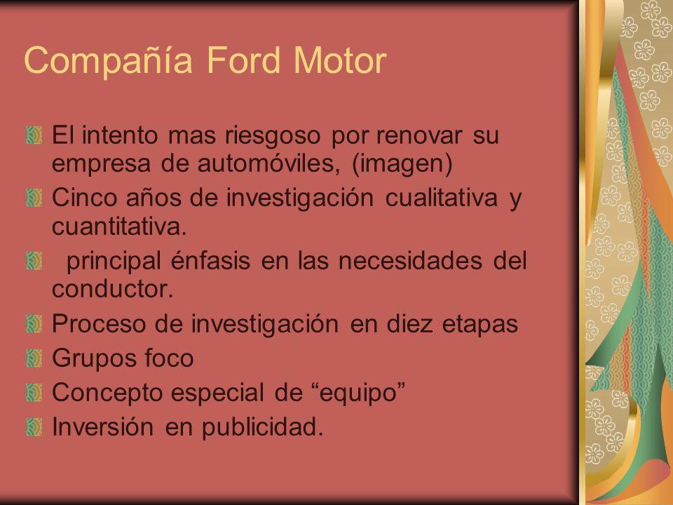 Compañía Ford Motor El intento mas riesgoso por renovar su empresa de automóviles, (imagen) Cinco años de investigación cualitativa y cuantitativa. pr