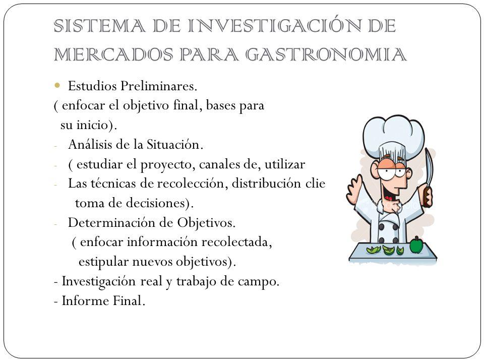 SISTEMA DE INVESTIGACIÓN DE MERCADOS PARA GASTRONOMIA Estudios Preliminares. ( enfocar el objetivo final, bases para su inicio). - Análisis de la Situ