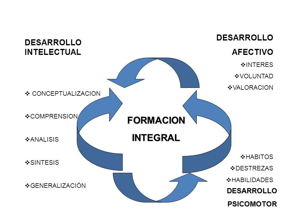 DESARROLLO INTELECTUAL CONCEPTUALIZACION COMPRENSION ANALISIS SINTESIS GENERALIZACIÓN DESARROLLO AFECTIVO INTERES VOLUNTAD VALORACION HABITOS DESTREZA