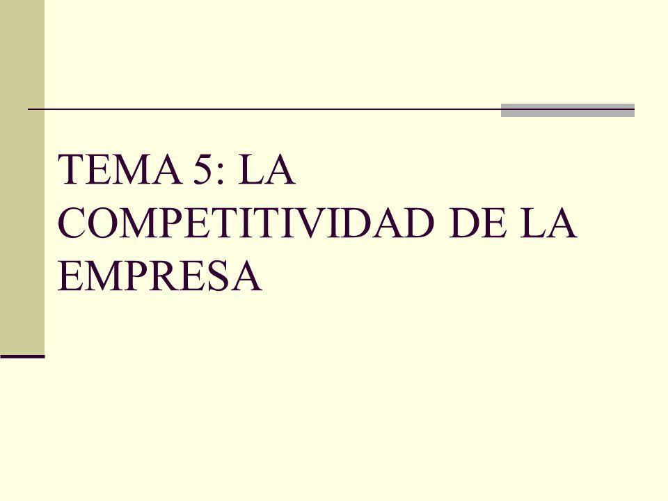 OBJETIVOS DE CONOCIMIENTO DEL TEMA 5 1.- CONCEPTO DE COMPETITIVIDAD 2.- NIVELES DE COMPETENCIA 3.- MODELO DE ANÁLISIS DE COMPETITIVIDAD DE LA EMPRESA 4.- MEDIDA DE LA COMPETITIVIDAD DE LA EMPRESA