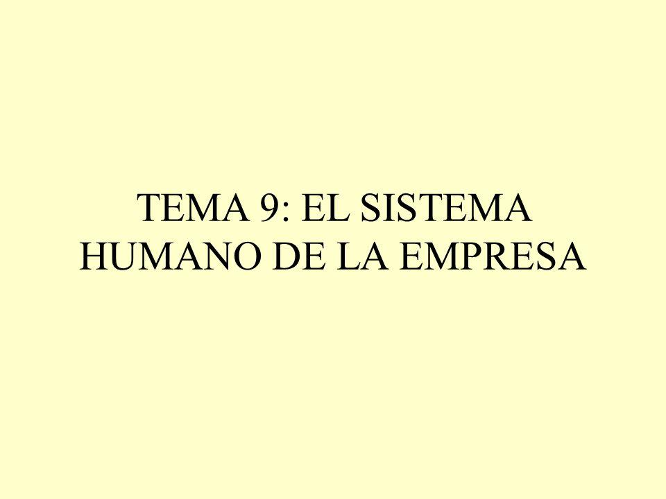 OBJETIVOS DE CONOCIMIENTO DEL TEMA 9 1.- CONCEPTO Y ESTRUCTURA DEL SISTEMA HUMANO 2.- EL COMPORTAMIENTO HUMANO: DE LAS TEORÍAS X E Y A LA Z 3.- LAS TEORÍAS DE LA MOTIVACIÓN: EVIDENCIA EMPÍRICA 4.- DIRECCIÓN Y POLÍTICA DE PERSONAL