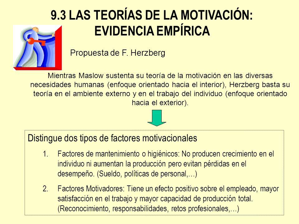9.3 LAS TEORÍAS DE LA MOTIVACIÓN: EVIDENCIA EMPÍRICA Distingue dos tipos de factores motivacionales 1.Factores de mantenimiento o higiénicos: No produ