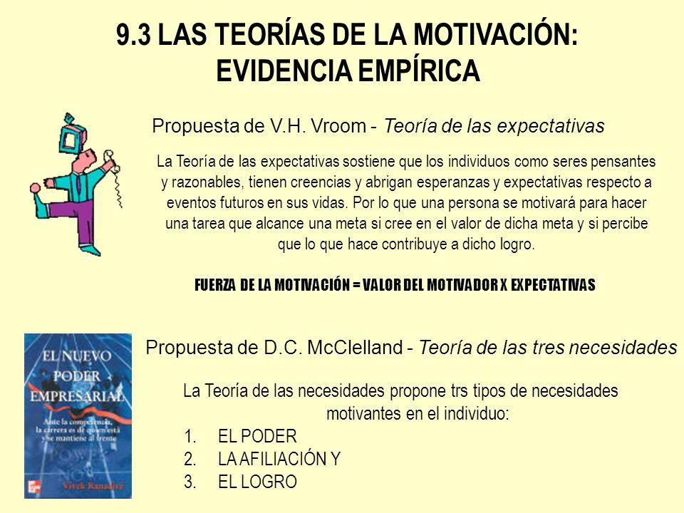 9.3 LAS TEORÍAS DE LA MOTIVACIÓN: EVIDENCIA EMPÍRICA Propuesta de V.H. Vroom - Teoría de las expectativas La Teoría de las expectativas sostiene que l