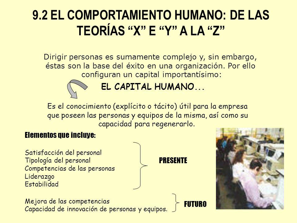 9.2 EL COMPORTAMIENTO HUMANO: DE LAS TEORÍAS X E Y A LA Z Dirigir personas es sumamente complejo y, sin embargo, éstas son la base del éxito en una or