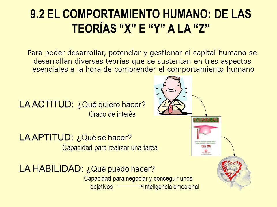 9.2 EL COMPORTAMIENTO HUMANO: DE LAS TEORÍAS X E Y A LA Z Para poder desarrollar, potenciar y gestionar el capital humano se desarrollan diversas teor