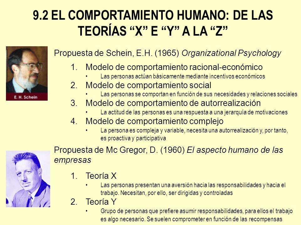 9.2 EL COMPORTAMIENTO HUMANO: DE LAS TEORÍAS X E Y A LA Z Propuesta de Schein, E.H. (1965) Organizational Psychology 1.Modelo de comportamiento racion