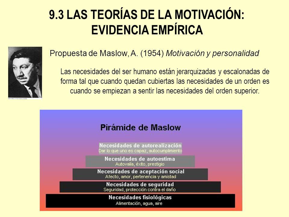 9.3 LAS TEORÍAS DE LA MOTIVACIÓN: EVIDENCIA EMPÍRICA Propuesta de Maslow, A. (1954) Motivación y personalidad Las necesidades del ser humano están jer
