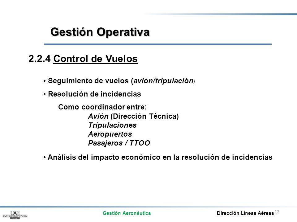 12 2.2.4 Control de Vuelos Seguimiento de vuelos (avión/tripulación ) Resolución de incidencias Como coordinador entre: Avión (Dirección Técnica) Trip
