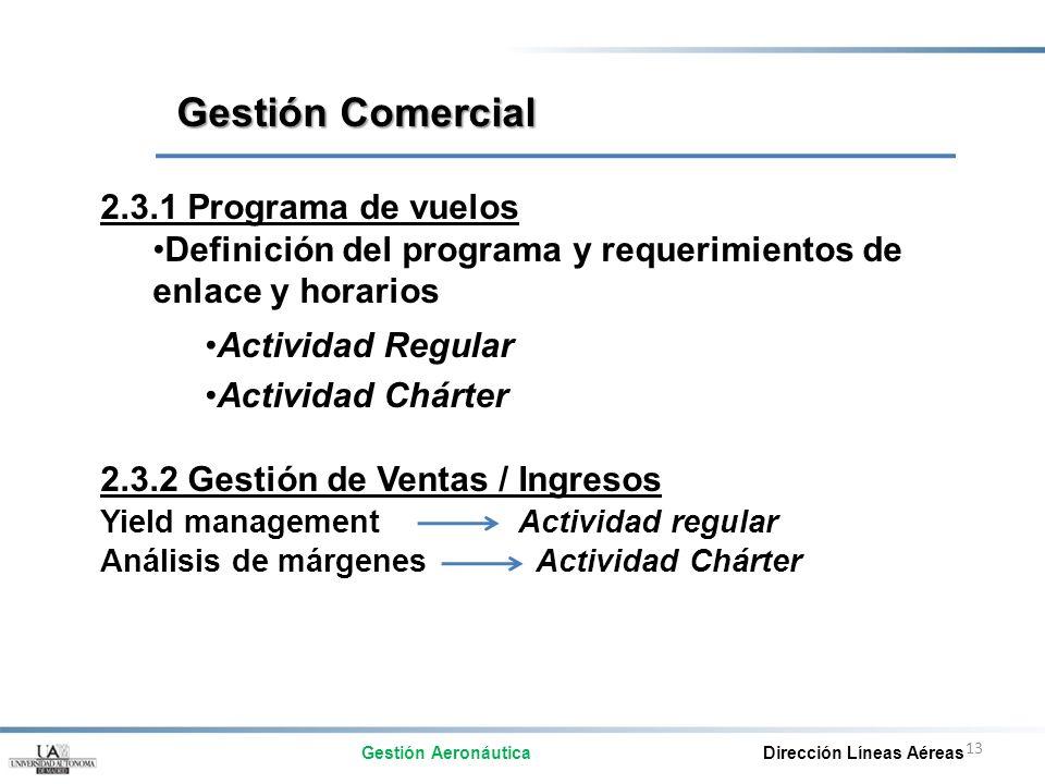 13 2.3.1 Programa de vuelos Definición del programa y requerimientos de enlace y horarios Actividad Regular Actividad Chárter 2.3.2 Gestión de Ventas
