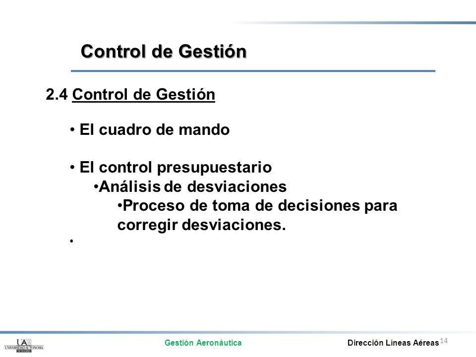 14 2.4 Control de Gestión El cuadro de mando El control presupuestario Análisis de desviaciones Proceso de toma de decisiones para corregir desviacion