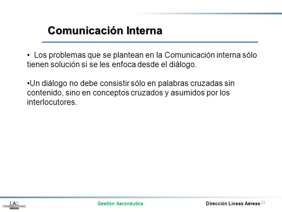 21 Los problemas que se plantean en la Comunicación interna sólo tienen solución si se les enfoca desde el diálogo. Un diálogo no debe consistir sólo