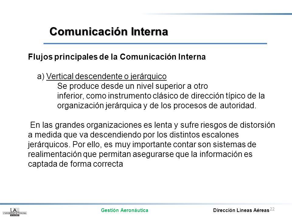 22 Flujos principales de la Comunicación Interna a) Vertical descendente o jerárquico Se produce desde un nivel superior a otro inferior, como instrum