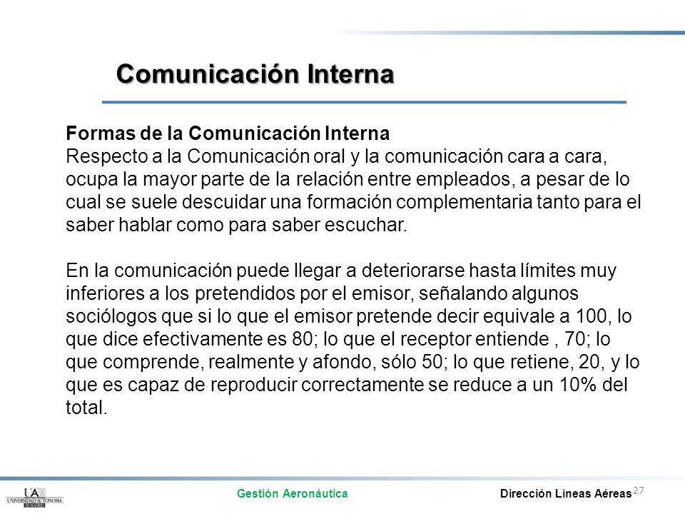 27 Formas de la Comunicación Interna Respecto a la Comunicación oral y la comunicación cara a cara, ocupa la mayor parte de la relación entre empleado