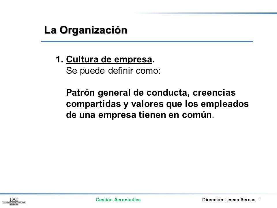 4 1.Cultura de empresa. Se puede definir como: Patrón general de conducta, creencias compartidas y valores que los empleados de una empresa tienen en