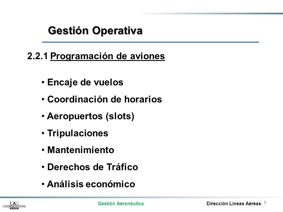 8 2.2.1 Programación de aviones Encaje de vuelos Coordinación de horarios Aeropuertos (slots) Tripulaciones Mantenimiento Derechos de Tráfico Análisis