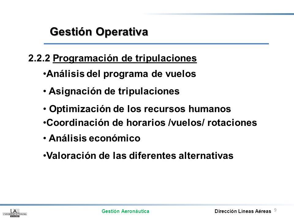 9 2.2.2 Programación de tripulaciones Análisis del programa de vuelos Asignación de tripulaciones Optimización de los recursos humanos Coordinación de