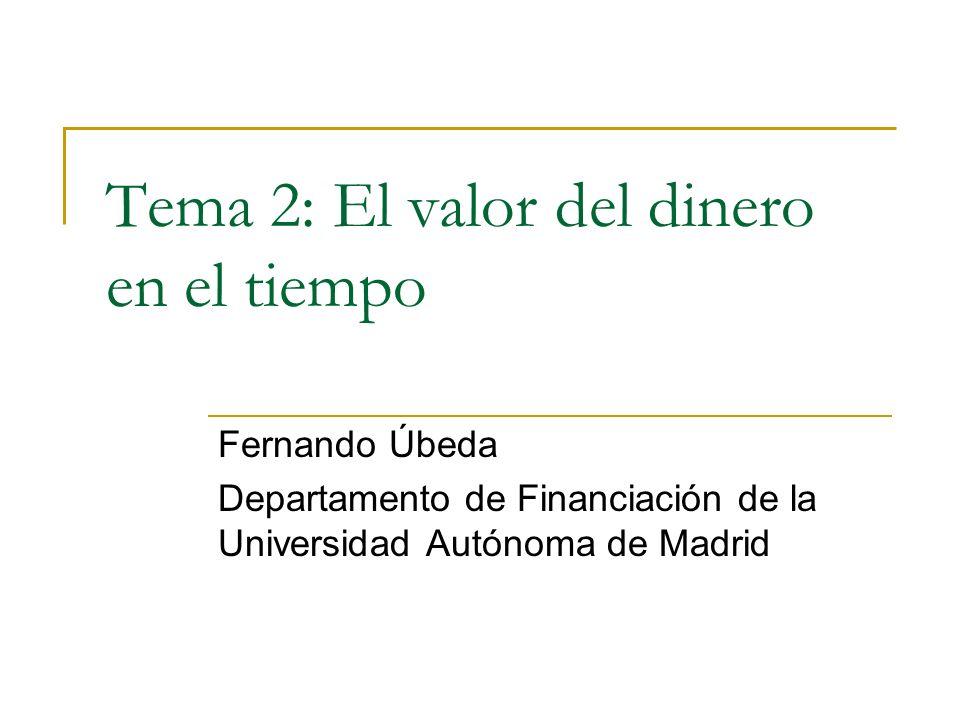 Tema 2: El valor del dinero en el tiempo Fernando Úbeda Departamento de Financiación de la Universidad Autónoma de Madrid