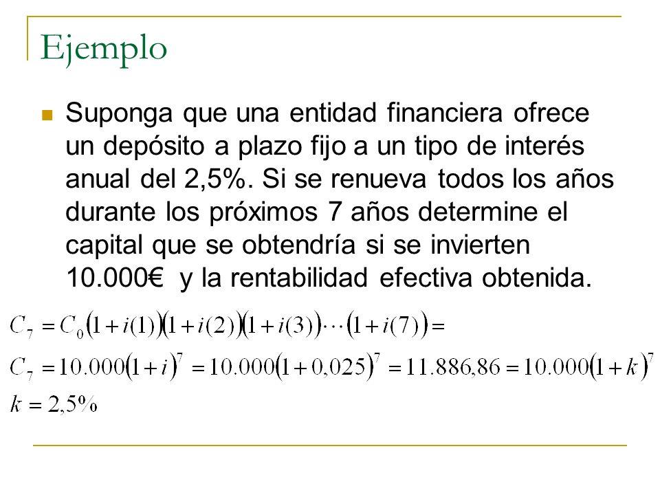 Ejemplo Suponga que una entidad financiera ofrece un depósito a plazo fijo a un tipo de interés anual del 2,5%. Si se renueva todos los años durante l