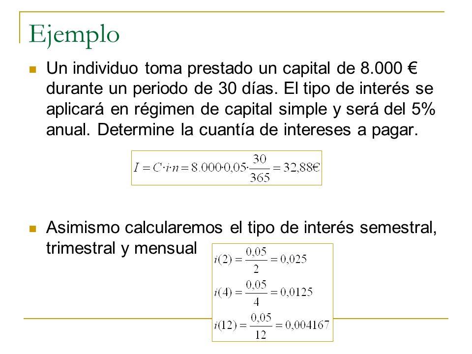 Ejemplo Un individuo toma prestado un capital de 8.000 durante un periodo de 30 días. El tipo de interés se aplicará en régimen de capital simple y se
