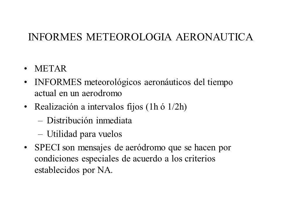 INFORMES METEOROLOGIA AERONAUTICA METAR INFORMES meteorológicos aeronáuticos del tiempo actual en un aerodromo Realización a intervalos fijos (1h ó 1/