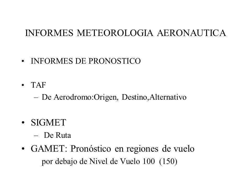 INFORMES METEOROLOGIA AERONAUTICA INFORMES DE PRONOSTICO TAF –De Aerodromo:Origen, Destino,Alternativo SIGMET – De Ruta GAMET: Pronóstico en regiones