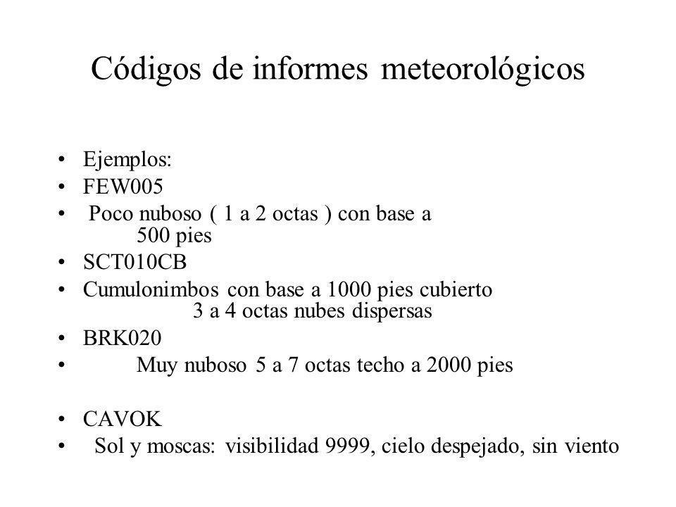Códigos de informes meteorológicos Ejemplos: FEW005 Poco nuboso ( 1 a 2 octas ) con base a 500 pies SCT010CB Cumulonimbos con base a 1000 pies cubiert