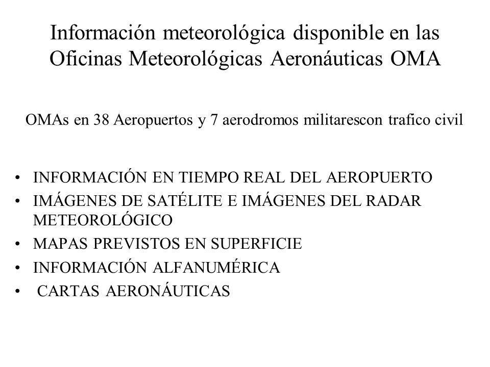 Información meteorológica disponible en las Oficinas Meteorológicas Aeronáuticas OMA INFORMACIÓN EN TIEMPO REAL DEL AEROPUERTO IMÁGENES DE SATÉLITE E