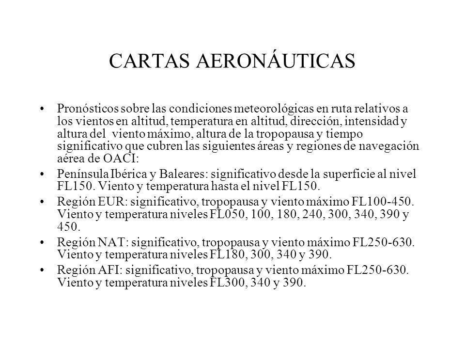 CARTAS AERONÁUTICAS Pronósticos sobre las condiciones meteorológicas en ruta relativos a los vientos en altitud, temperatura en altitud, dirección, in