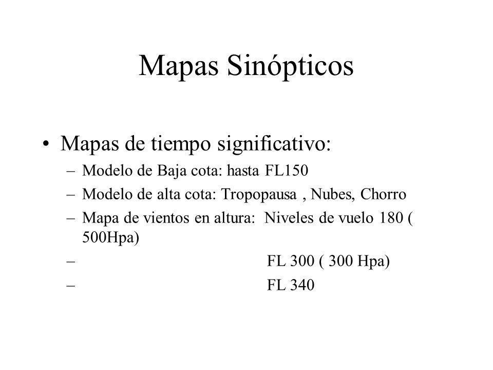 Mapas Sinópticos Mapas de tiempo significativo: –Modelo de Baja cota: hasta FL150 –Modelo de alta cota: Tropopausa, Nubes, Chorro –Mapa de vientos en