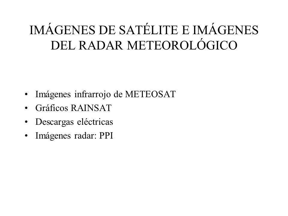 IMÁGENES DE SATÉLITE E IMÁGENES DEL RADAR METEOROLÓGICO Imágenes infrarrojo de METEOSAT Gráficos RAINSAT Descargas eléctricas Imágenes radar: PPI