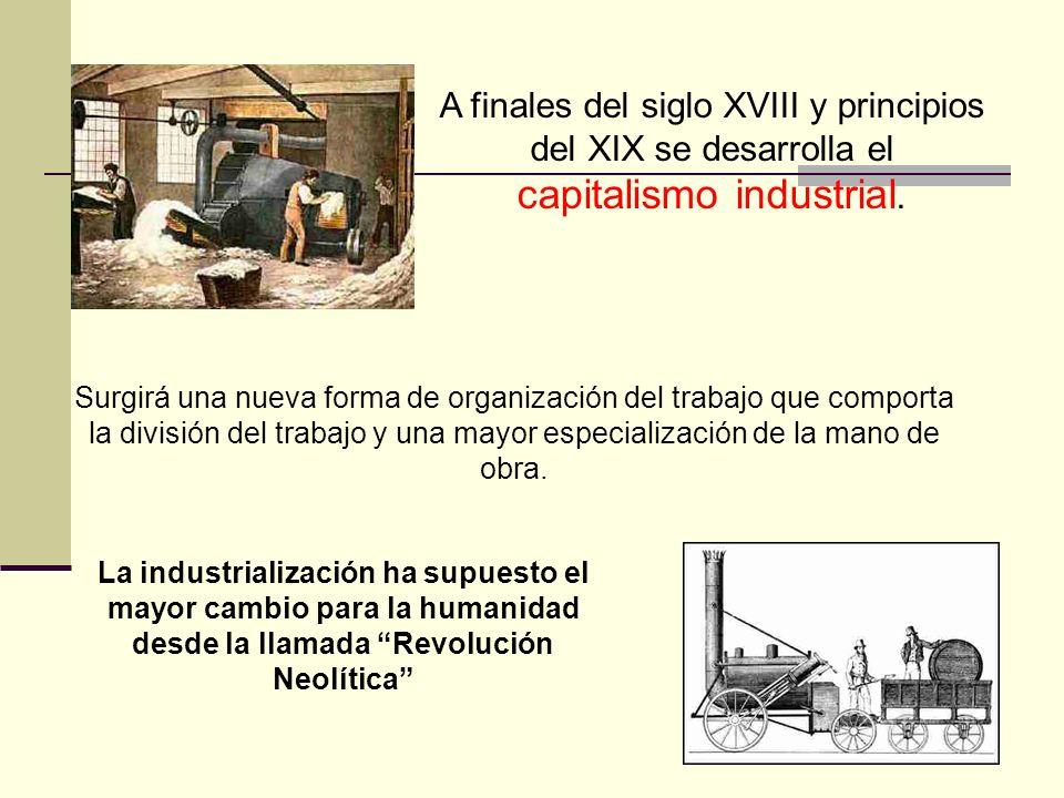 A finales del siglo XVIII y principios del XIX se desarrolla el capitalismo industrial. Surgirá una nueva forma de organización del trabajo que compor