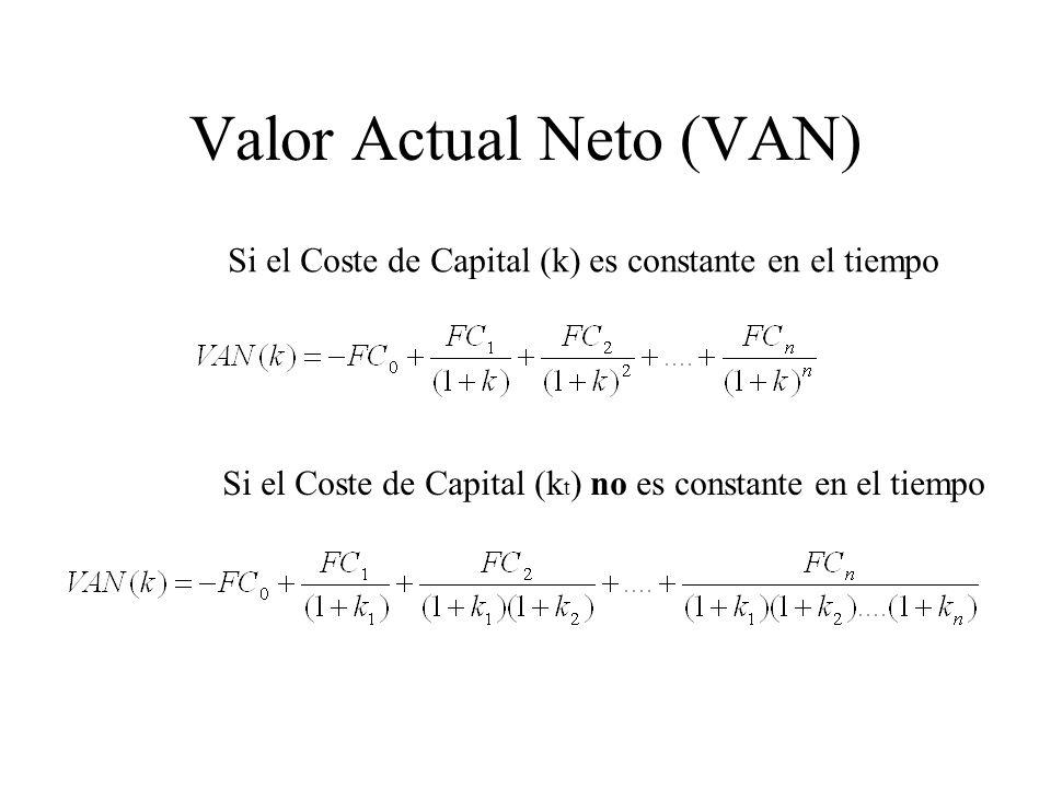 Valor Actual Neto (VAN) Si el Coste de Capital (k) es constante en el tiempo Si el Coste de Capital (k t ) no es constante en el tiempo