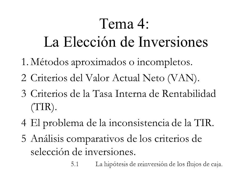 Tema 4: La Elección de Inversiones 1.Métodos aproximados o incompletos. 2Criterios del Valor Actual Neto (VAN). 3Criterios de la Tasa Interna de Renta