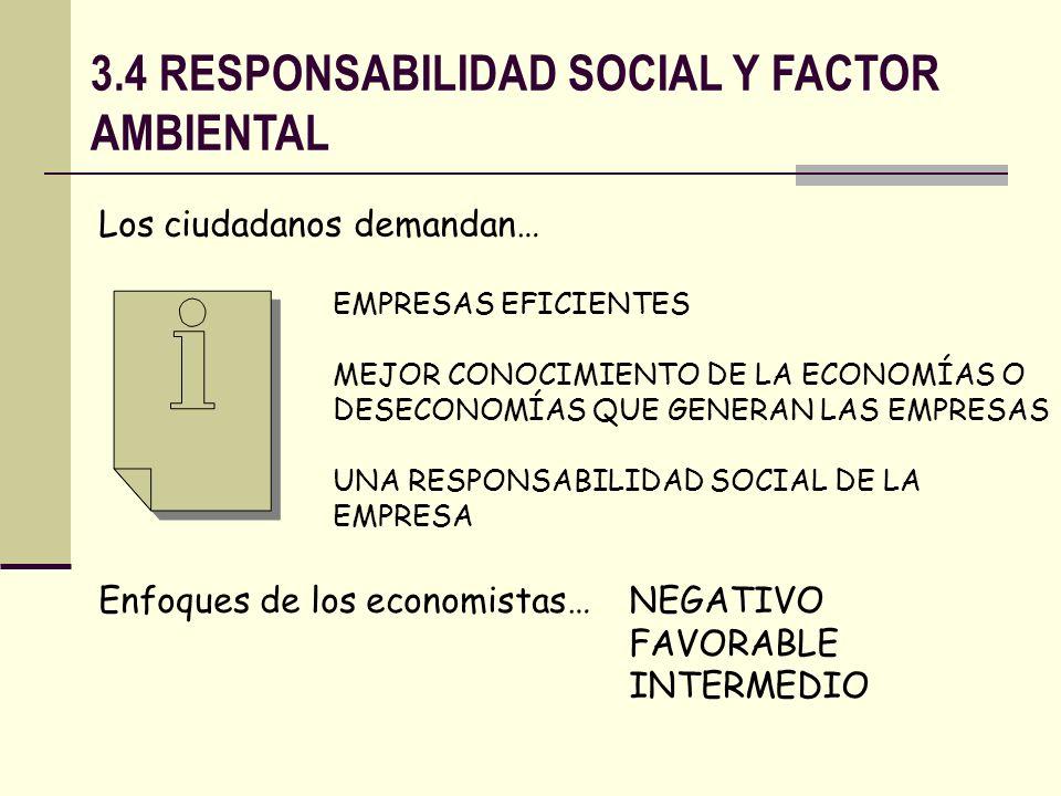 3.4 RESPONSABILIDAD SOCIAL Y FACTOR AMBIENTAL Los ciudadanos demandan… EMPRESAS EFICIENTES MEJOR CONOCIMIENTO DE LA ECONOMÍAS O DESECONOMÍAS QUE GENER